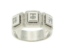 טבעת אירוסין מרובעת זהב לבן