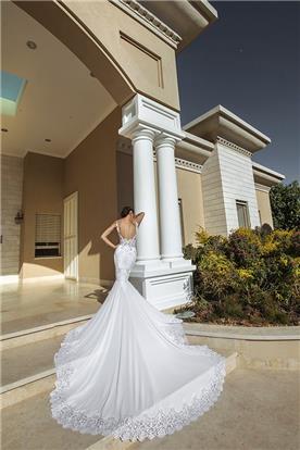 שמלת כלה: קולקציית 2016, שמלה בסגנון רומנטי, שמלה בסגנון קלאסי, שמלה עם תחרה, שמלה עם שובל, שמלה עם גב חשוף, שמלה בצבע לבן - כוכי פלס Cochi Palas - סטודיו לכלות