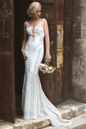 שמלת כלה בשילוב תחרה עבה