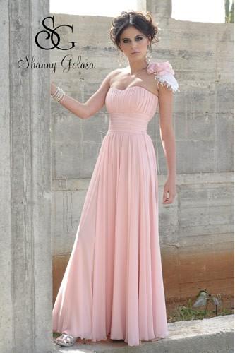 שמלת ערב קלאסית סטרפלס ורודה