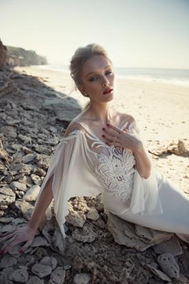 שמלות כלה שרוול ארוך רפוי מחורז