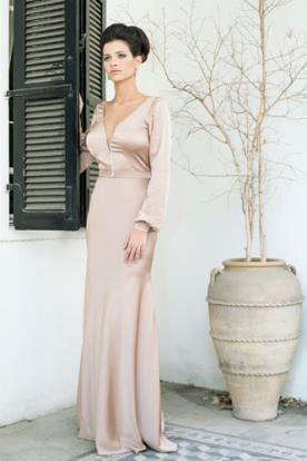 שמלת ערב חלקה צבע אחיד ומחשוף