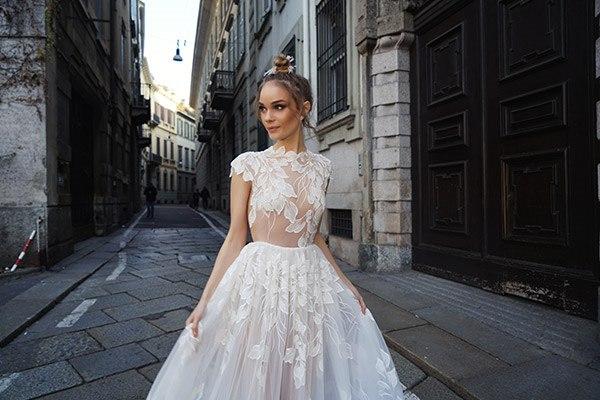 שמלת כלה תחרת עלים רקומים