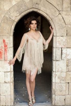 שמלת ערב פרנזים זהב מיני