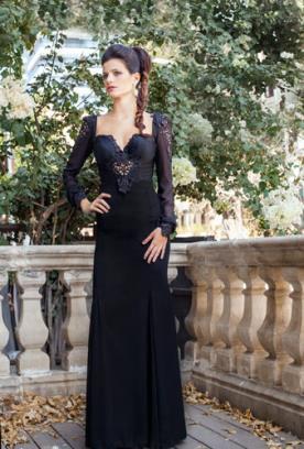 שמלת ערב שרוולי שיפון שחורה