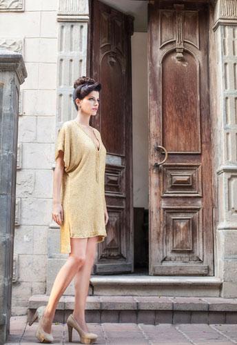 שמלת ערב רפויה קצרה זהב