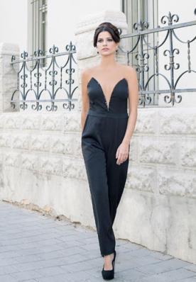 שמלת ערב אוברול מחשוף עמוק