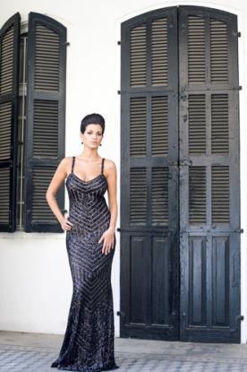 שמלת ערב קווים גאומטרים שחורים