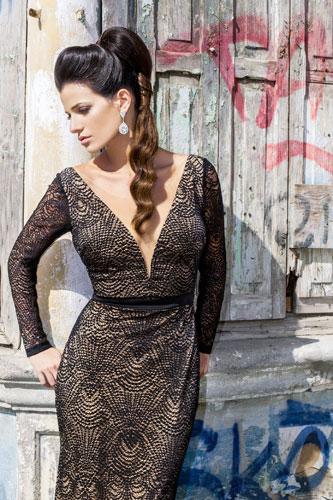 שמלת ערב שחורה דוגמת וינטג'