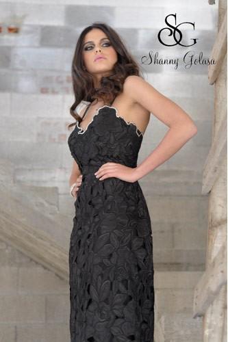 שמלת ערב תחרה צפופה שחורה