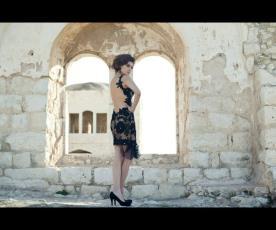 שמלת ערב תחרה וטול גב פתוח