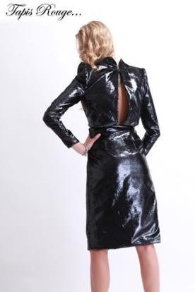 שמלת ערב שחורה מיני דמוי עור