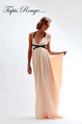שמלת ערב ורודה כתפיות שחורות