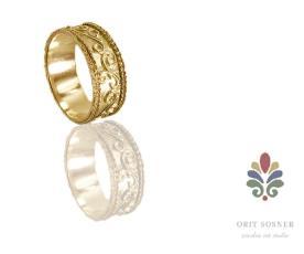 טבעת נישואין עיטורי פרחים
