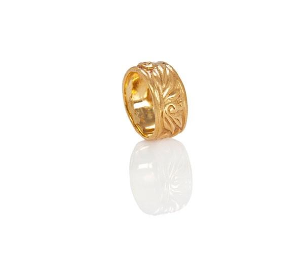 טבעת נישואין זהב צהוב פרחונית