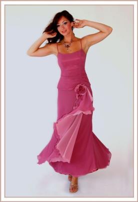 שמלת ערב ורודה עם פרח לריקודים