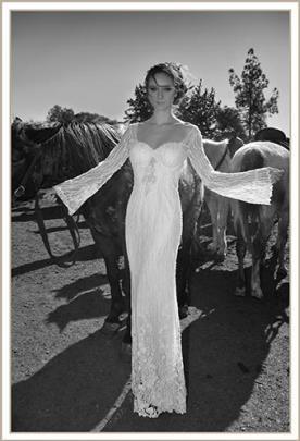 שמלת כלה אלגנטית מחורזת שרוול