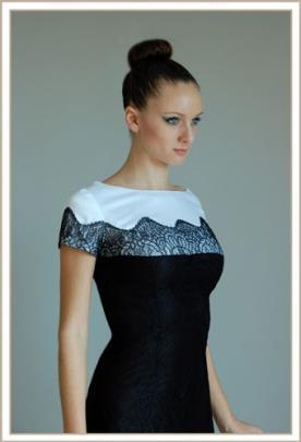 שמלת ערב שרוולים קצרים ותחרה