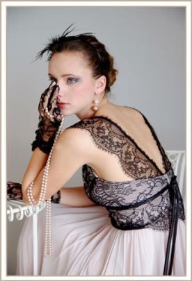 שמלת ערב כתפיות תחרה וחצאית