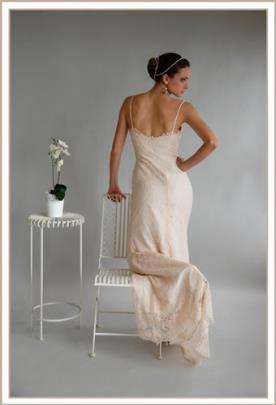 שמלת ערב אפרסק עדינה חשופה