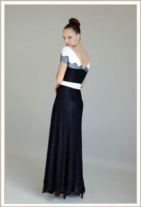 שמלת ערב מקסי תחרה שחור לבן
