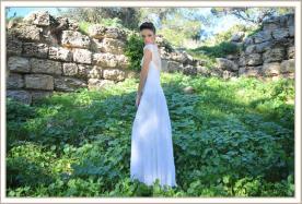 שמלת כלה ארוכה שרוול תחרה קצר