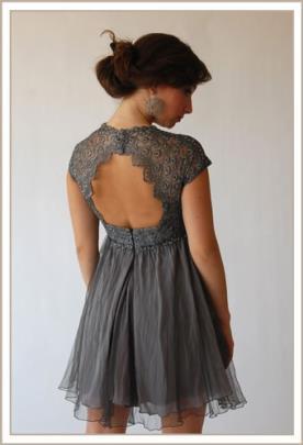 שמלת ערב אפורה גב פתוח מיני