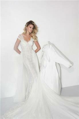 שמלת כלה עם כתפיות שקופות - יניב פרסי - Yaniv Persy
