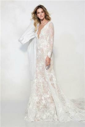 שמלת כלה עם שרוולים שקופים - יניב פרסי - Yaniv Persy