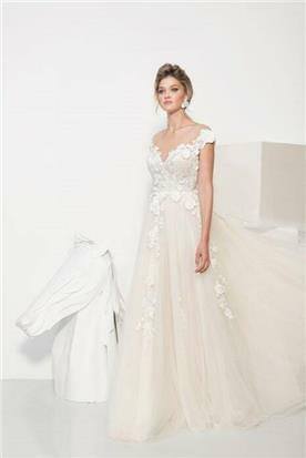שמלת כלה עם שרוול כתפיות עבות - יניב פרסי - Yaniv Persy