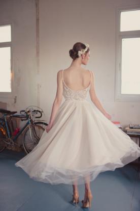 שמלת כלה מידי בגוון קרם