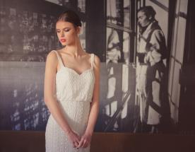 שמלת כלה צמודה עם חרוזים