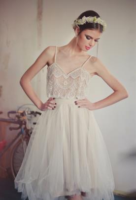שמלת כלה שני חלקים מידי בסגנון בוהו שיק