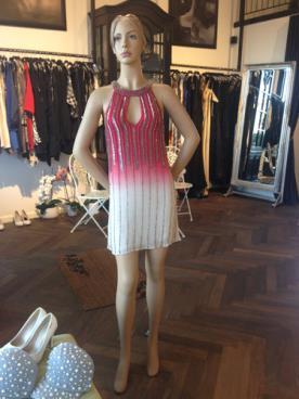 שמלת ערה מיני בגווני וורוד ולבן