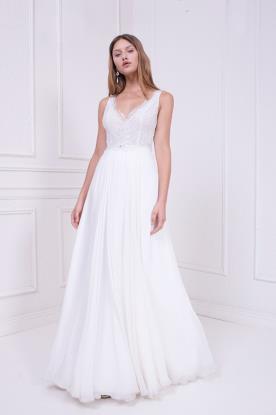 שמלת כלה עם רצועות חרוזים