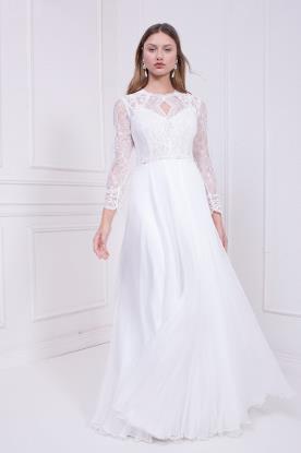 שמלת כלה צנועה עם טופ מתחרה