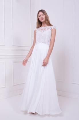 שמלת כלה צנועה עם טופ בקישוט חרוזים