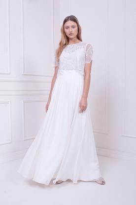 שמלת כלה צנועה עם חצאית משי