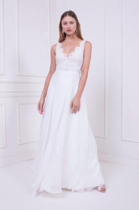 שמלת כלה עם טופ מתחרה וחצאית שיפון