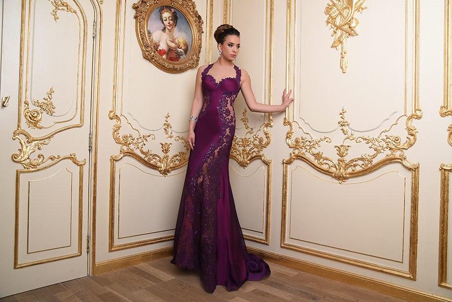 שמלת ערב בצבע חציל
