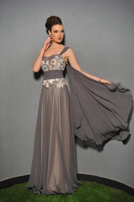 שמלת ערב ארוכה ועליונית מחוברת