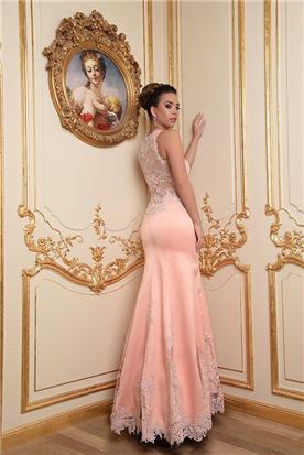 שמלת ערב ורודה עם תחרה