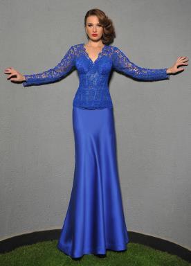 שמלת ערב צנועה בצבע כחול