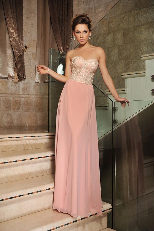 שמלת ערב סטרפלס עם מחוך מעוטר