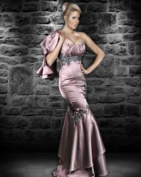 שמלת ערב בדגם בת ים מתחרה וסאטן