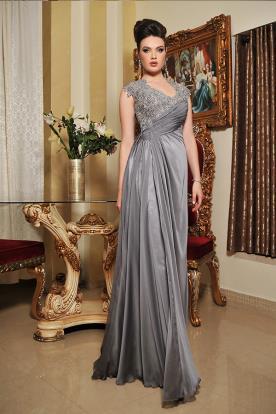 שמלת ערב נסיכותית עם חגורת כיווצים