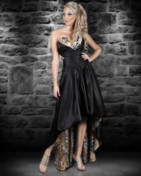 שמלת ערב אסימטרית מנומר ושחור