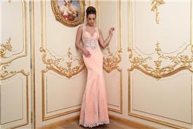 שמלת ערב ורודה בשילוב תחרה