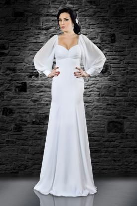 שמלת כלה עםן שרוולים נפוחים בעיצוב עדין
