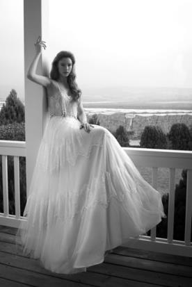 שמלת כלה בוהו שיק עם חצאית עשירה